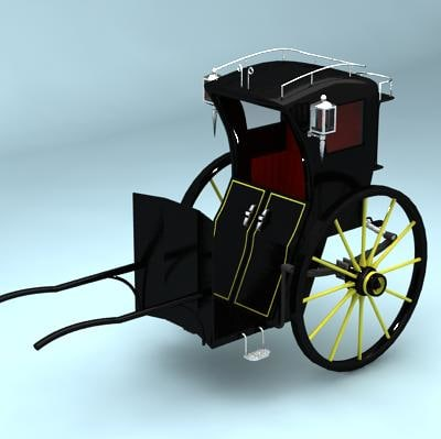 3d model of historically hansom cab