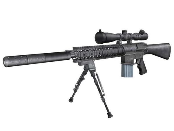 modeled sr-25 stoner rifle-25 3d model