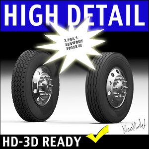 semi truck tire rim 3d model