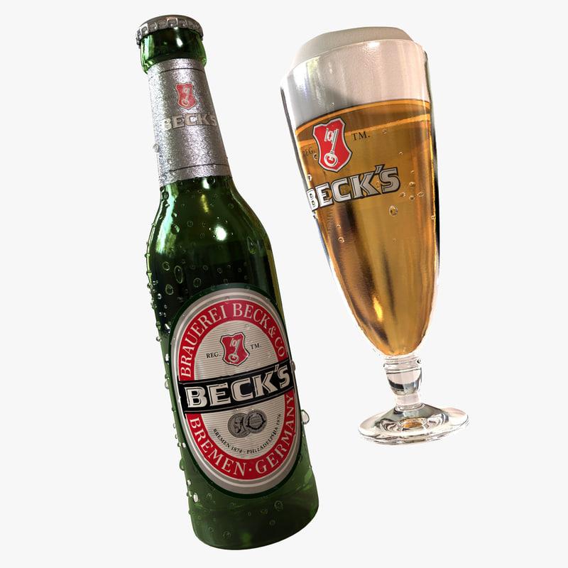 3d beck´s beer bottle beck model