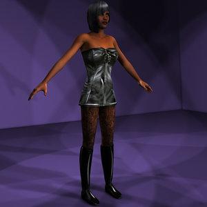 goth girl rigged 3d model