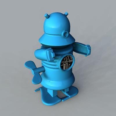 3d model vintage blue plastic toy