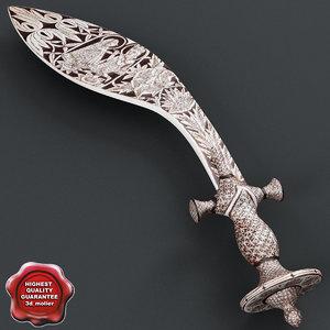 3d model india sword kukri