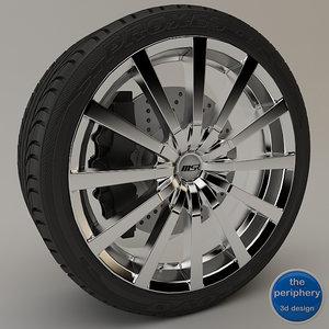 msr 042 chrome wheel 3d model