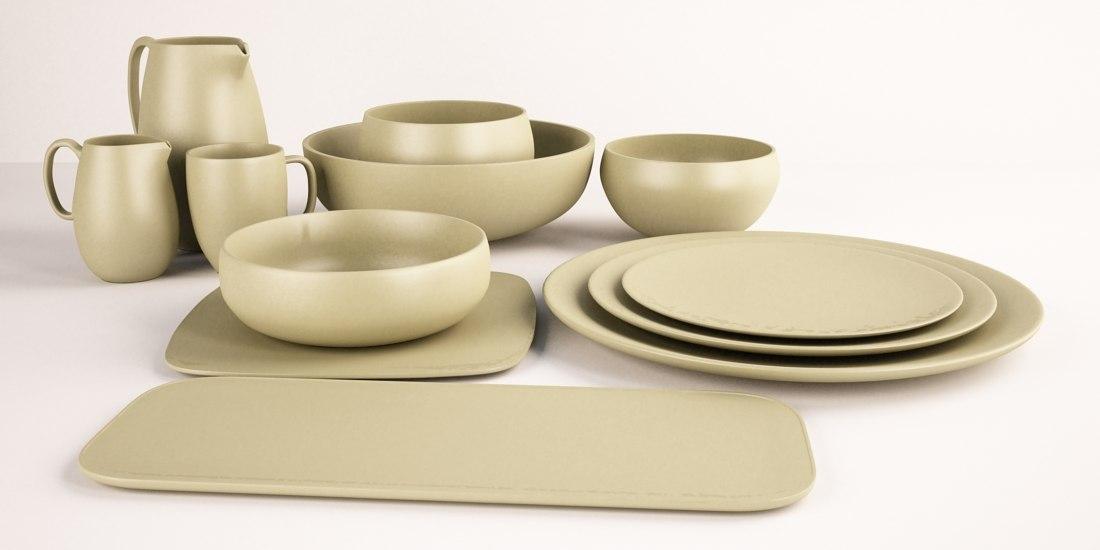vera wang natural tableware 3d model