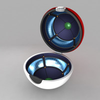3d model pokeball open animation