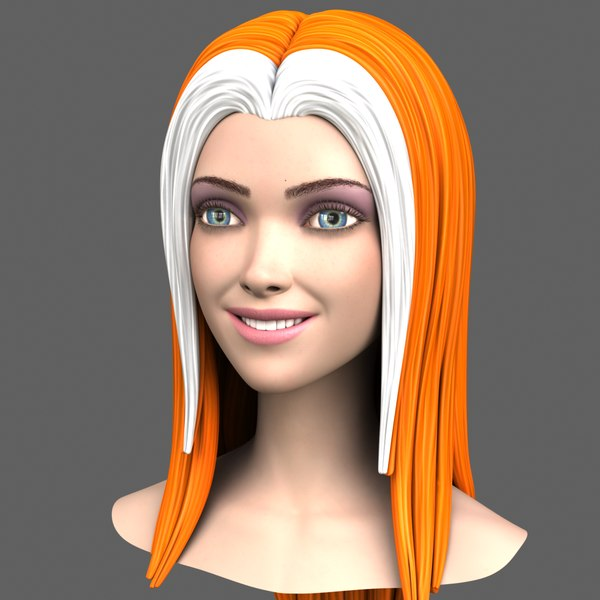 cartoon girl head expressions 3d model