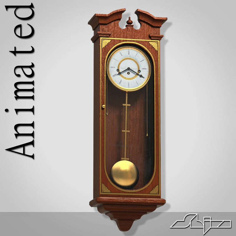 classic wall clock animation 3d 3ds