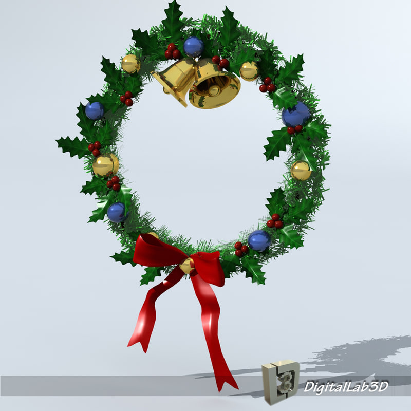 christmas wreath 3d c4d