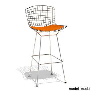 3d bertoia barstool knoll stool model