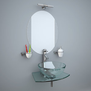3d glass wash-basin accessories