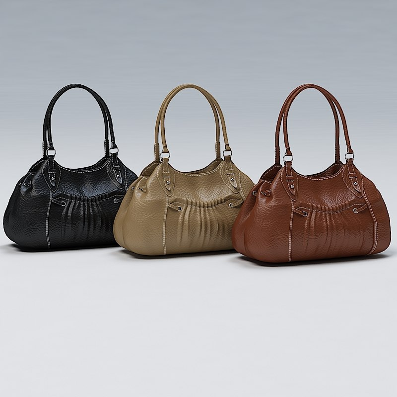 black ladies hand bag 3ds