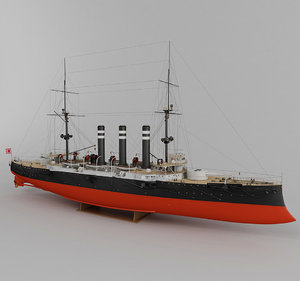 3d model of armored cruiser iwate japan