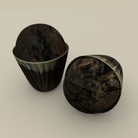 3d obj chocolate muffin