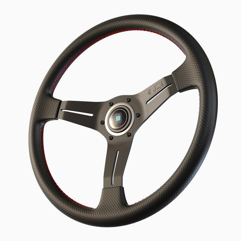 3d model sports steering wheel nardi