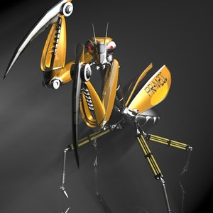 3d praying mantis robot model
