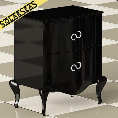 3d classic nightstand black