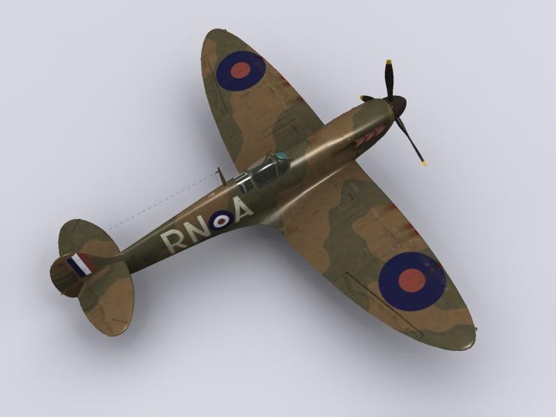supermarine spitfire fighter 72 3d model