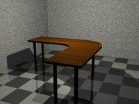 wooden table office 3d model