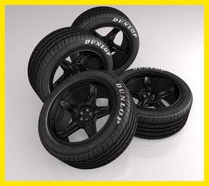 cinema4d black rim tire tyre