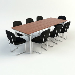 3d model conference table chairs- materials