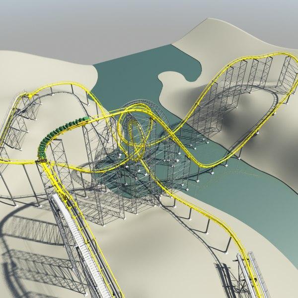 3d model loch ness roller coaster