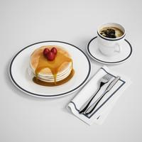 3d pancake breakfast model