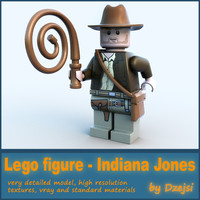 3d 3ds lego character - indiana jones