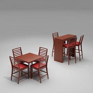 3d cafe bar chair table