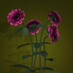 dahlias flower pot pl 3d model