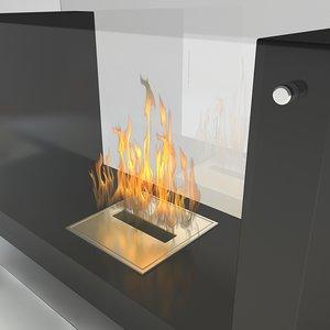 flueless fireplace realistic scenes 3d model