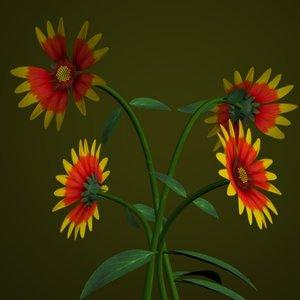 indian blanket flower pot 3d model