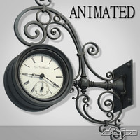 street wall clock animation 3d model