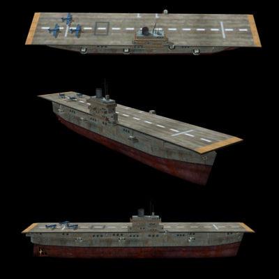 3d model ww2 aircraft carrier