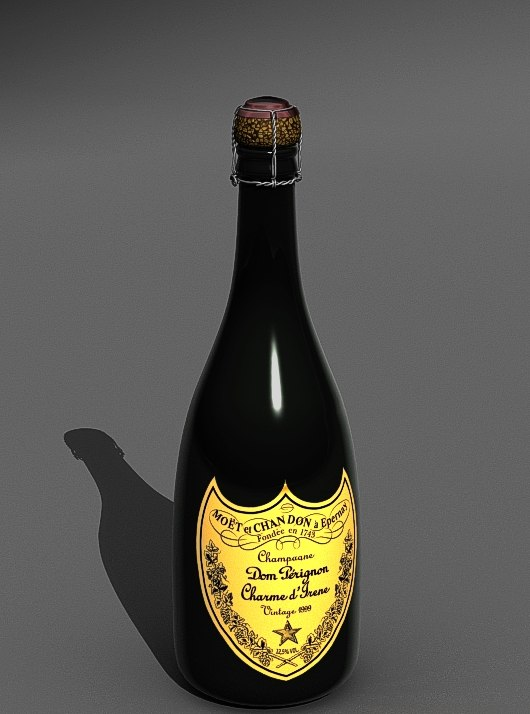 3d max cork champagne bottle