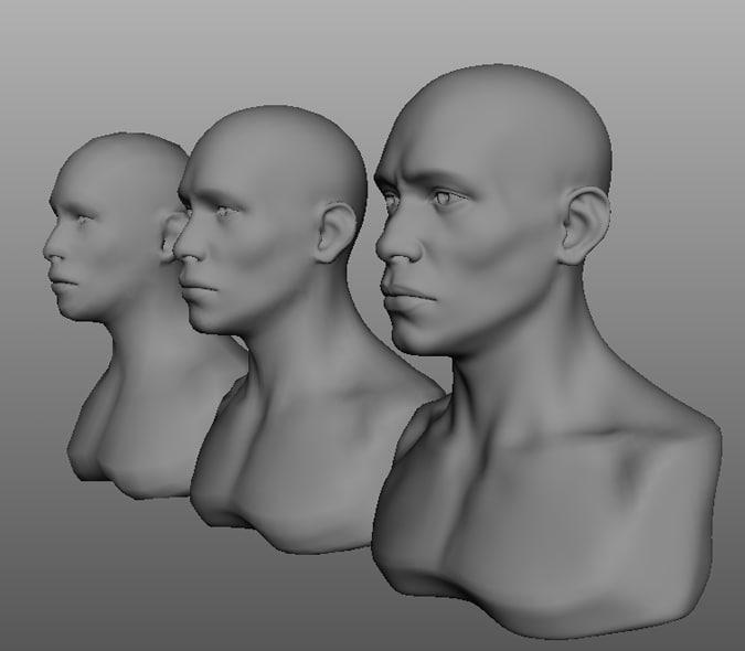 male african bust head obj