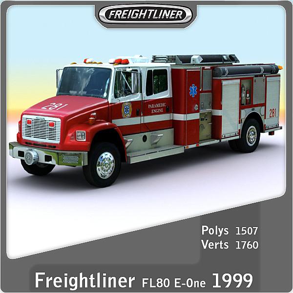 1999 freightliner fl80 e-one 3d model