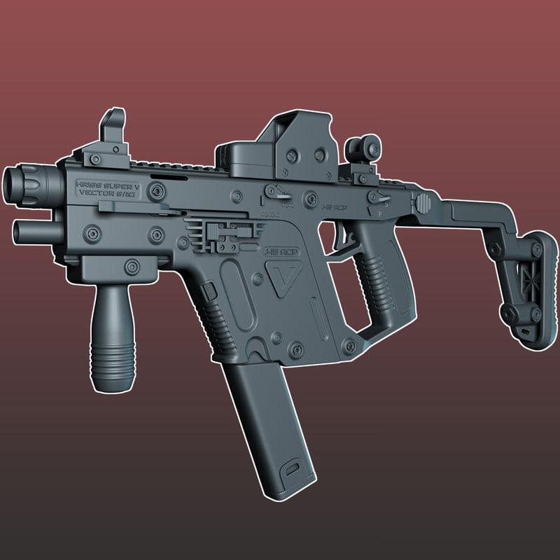 tdi sub machine gun 3d max