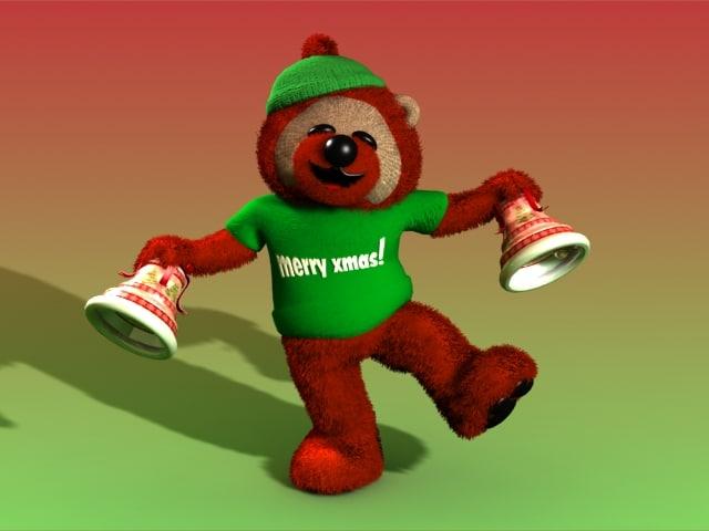 christmas teddy bear bells max
