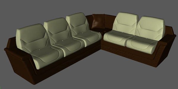 3d model of corner divan business aircraft