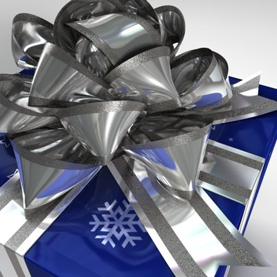 gift box blue silver 3d model