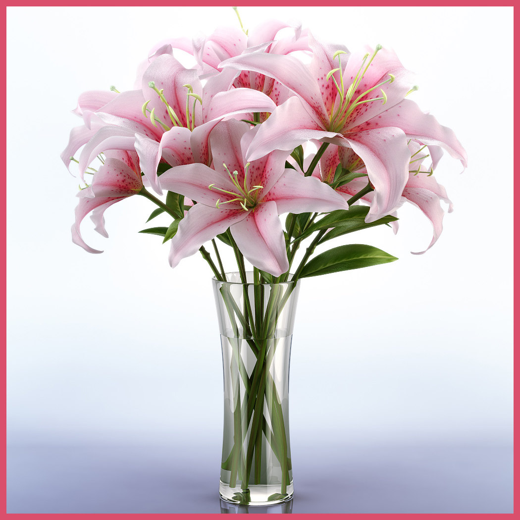 3d model of realistic lily vase