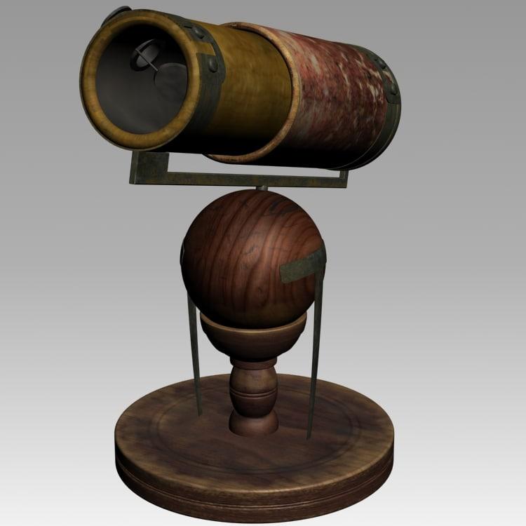 3d model newton telescope 1668 scope