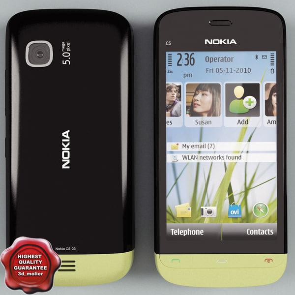 nokia c5-03 black-green 3d model
