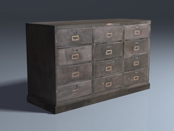 3d model steel drawer cabinet