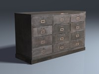 Steel Drawer Cabinet 3d Model, Low Poly