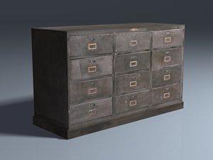 3d model steel drawer cabinet