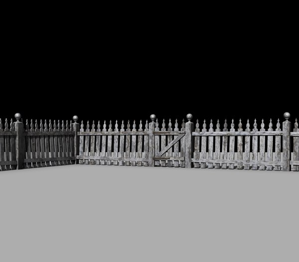 3d model of picket fence old