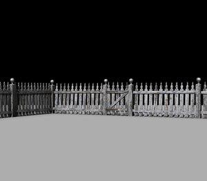 3d model of picket fence old