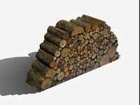 Firewood Log Pile, Low Poly